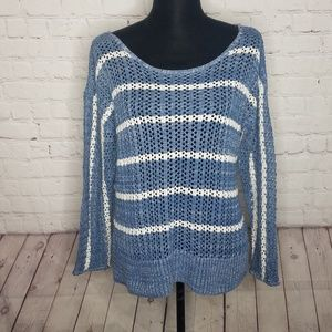 O'Neill Blue White Striped Knit Sweater Size Large